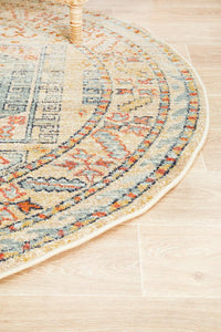Artin Power Loomed Sky Blue Round Rug