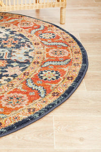 Artin Power Loomed Navy Round Rug