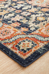 Artin Power Loomed Navy Runner Rug
