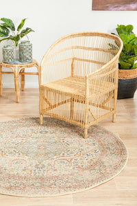 Artin Power Loomed Papyrus Round Rug