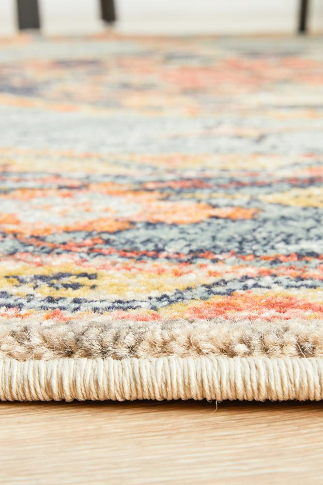 Artin Power Loomed Rust Round Rug