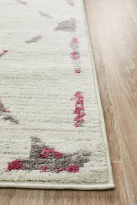 Kendall Contemporary Diamond Rug White Pink Grey