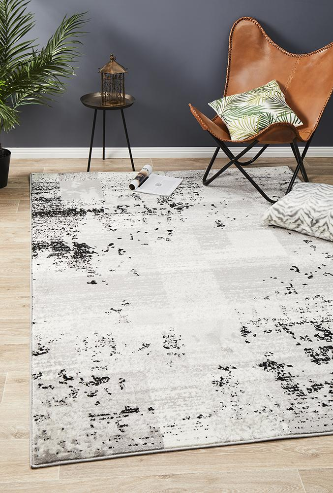 Alicia Modern Distressed Rug Grey Black Silver