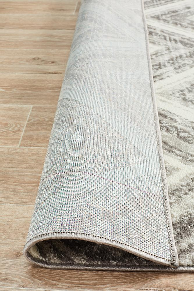 Sabrina Geo Diamonds Rug Silver Grey