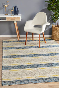 Amaya Impression Silver and Denim Rug