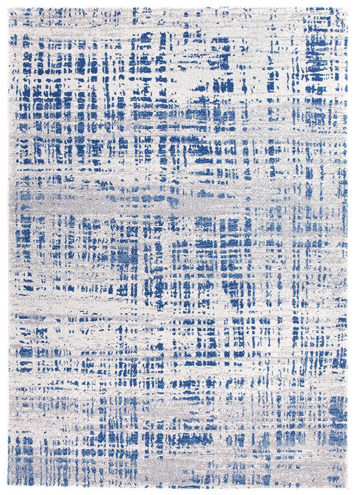 Susa Farzin  Abstract Modern Blue Grey Rug