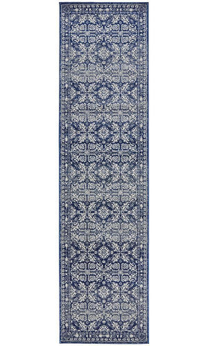 Susa Jahangir Stunning Transitional Navy Runner Rug