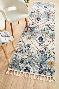 Blue Plush Moroccan Rug Runner Rug
