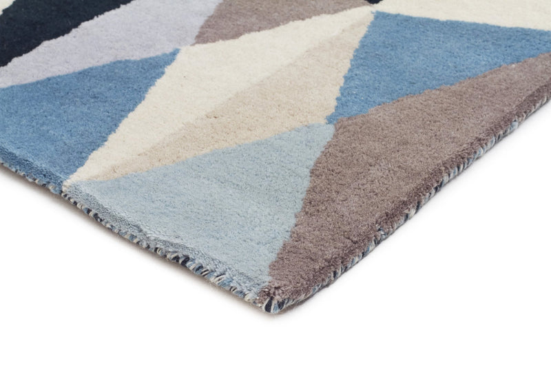 Gem Stone Designer Wool Blue  Runner Rug