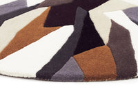 Crossroads Designer Wool Brown White Grey  Round Rug
