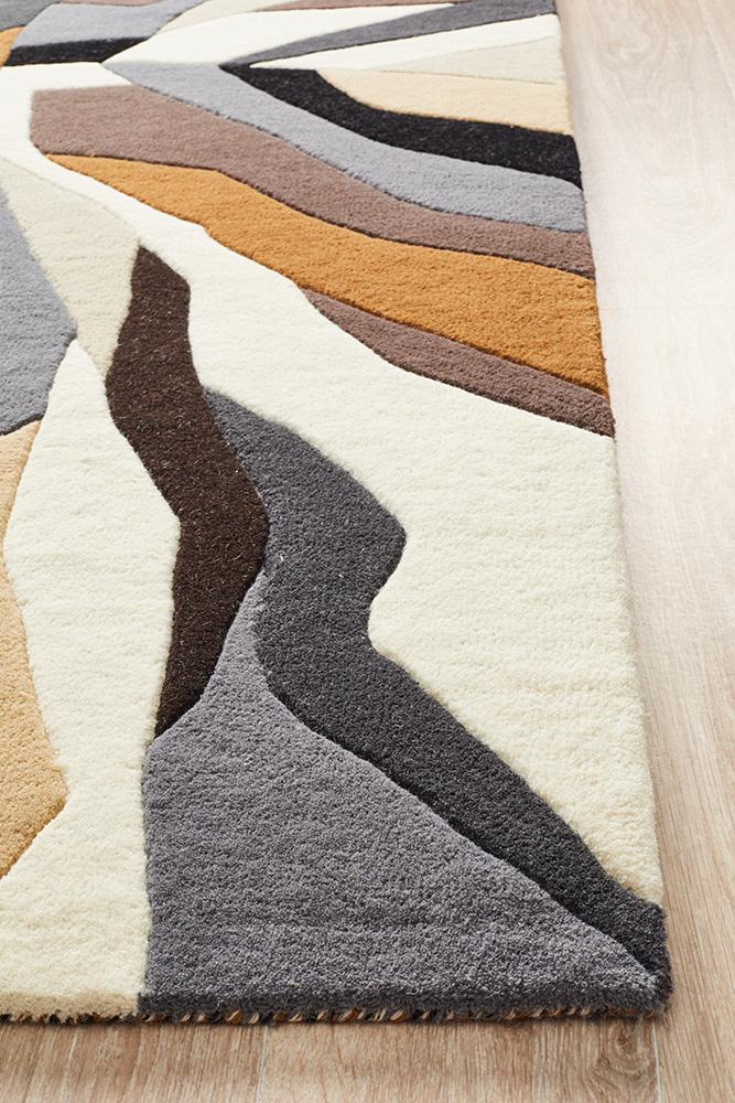 Crossroads Designer Wool Brown White Grey Rug