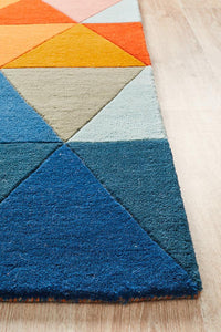 Prism Designer Wool Rust Blue Navy Rug