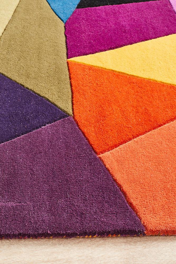 Eclectic Designer Wool Blue Rust Purple Rug