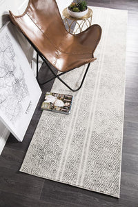 Aladdin Abby White And Grey Tribal Runner Rug