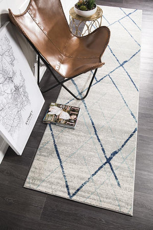 Aladdin Jabir White Blue Contemporary Runner Rug