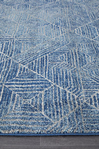Aladdin Lina Contemporary Navy Runner Rug
