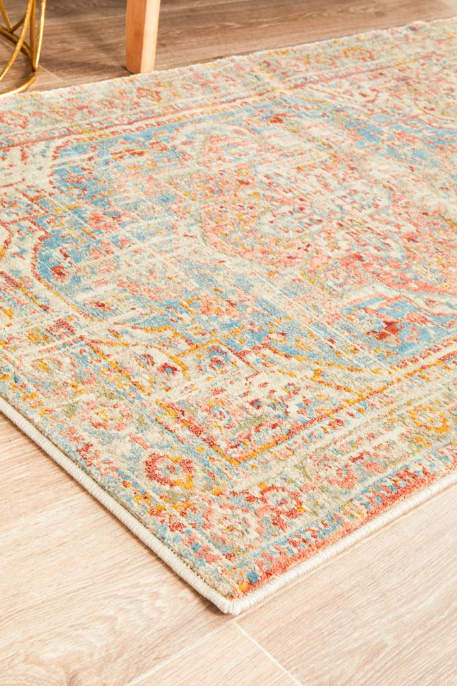 Helena Traditional Floral Faded Blue Modern Rug Runner