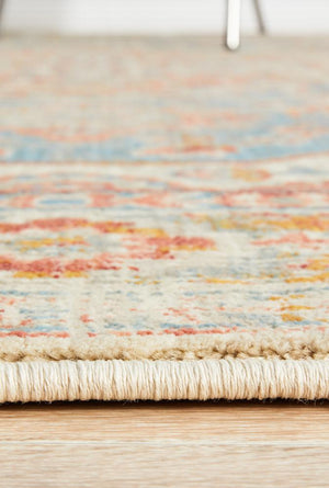 Helena Traditional Faded Coloured Blue Modern Rug
