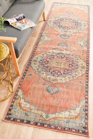 Helena Traditional Floral Terracotta Colour Modern Floor Rug  Runner