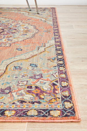 Helena Traditional Floral Terracotta Colour Modern Floor Rug