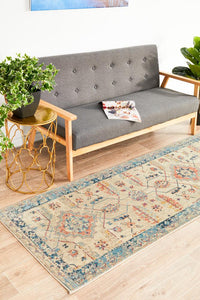 Helena Traditional Floral Faded Bone Modern Rug  Runner