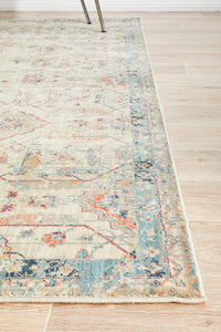 Helena Traditional Floral Faded Bone Modern Rug