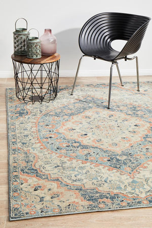 Helena Traditional Design Faded Blue Modern Floor Rug