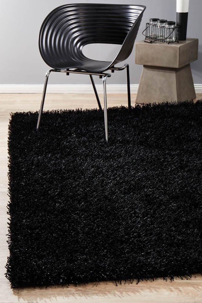 Metallic Thick, Thin Shag Rug Black