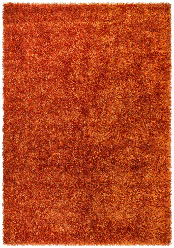 Metallic Thick, Thin Shag Rug Rust 225 X155 CM