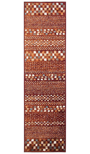 Mayfair Squares Rust Rug Runner
