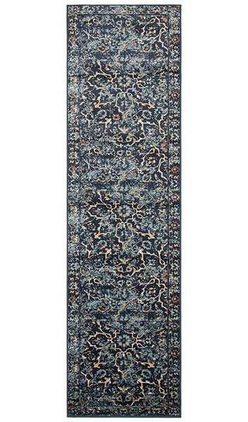 Mayfair Stem Navy Rug Runner