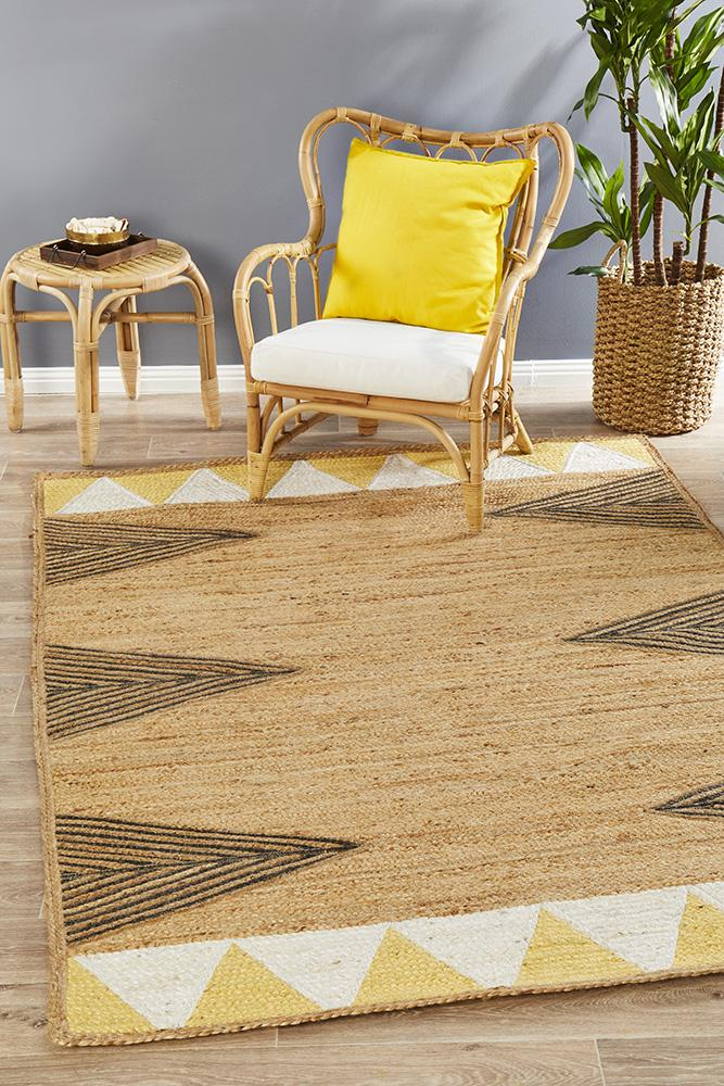 Array Hand-Crafted  Jute - Cotton Yellow Rug