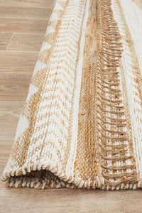 Array Hand-Crafted  Jute - Cotton White Rug