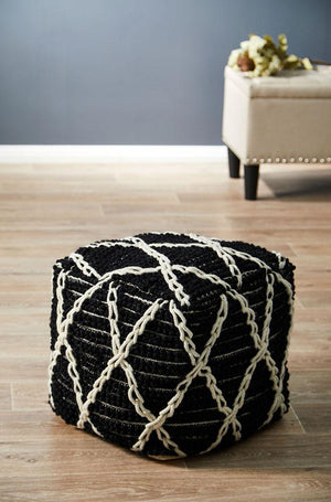 Black &White   Soft Diamond Wool Ottoman