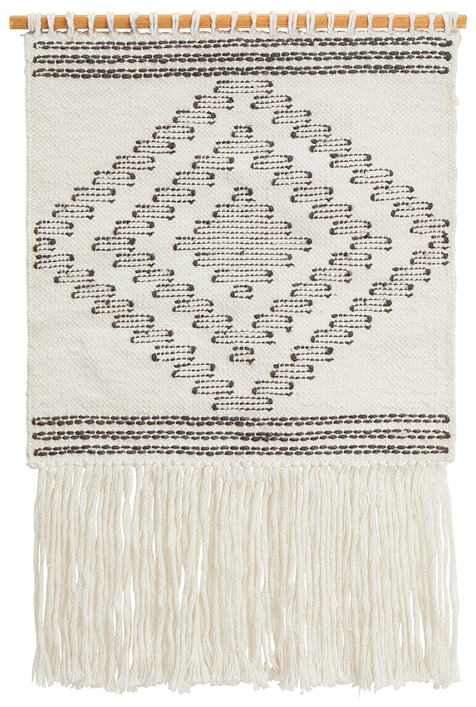 Aladdin Rugs NZ Home White Scandi Flatwoven Fringed Wall Hanging