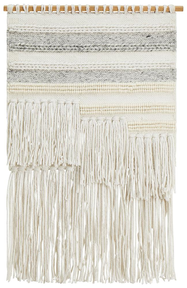Aladdin Rugs NZ Home Silk Scandi Textured Fringed Wall Hanging