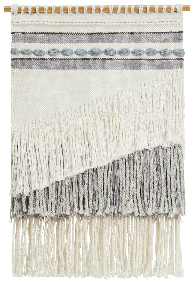 Aladdin Rugs NZ Home Ash Scandi Layered Fringed Wall Hanging