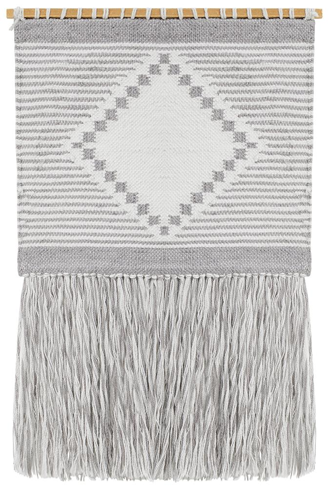 Aladdin Rugs NZ Home Dove Scandi Flatwoven Fringed Wall Hanging