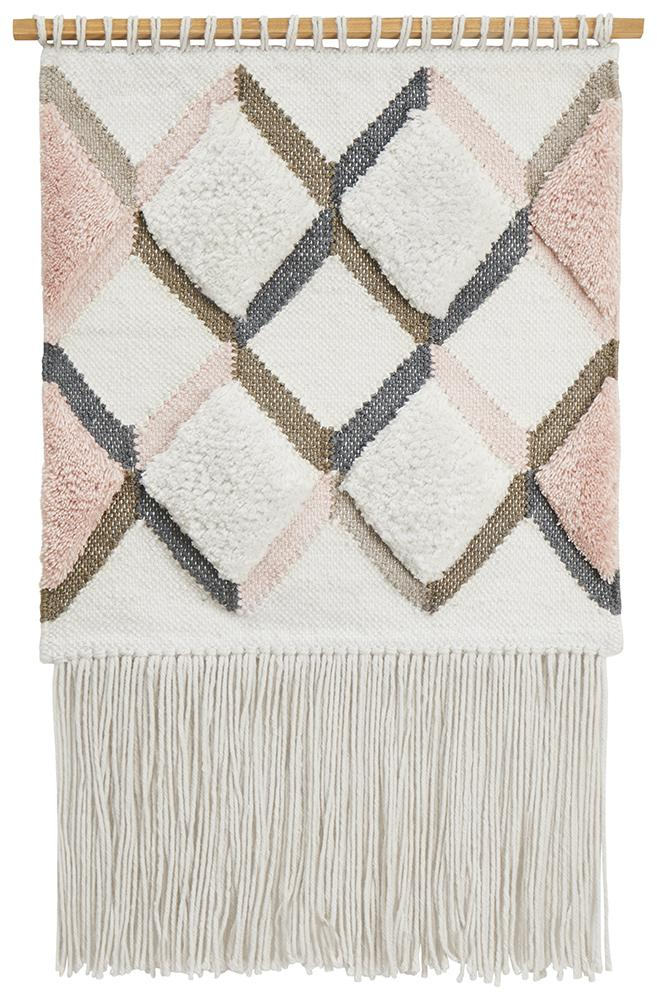 Aladdin Rugs NZ Home Pink Scandi Textured Fringed Wall Hanging