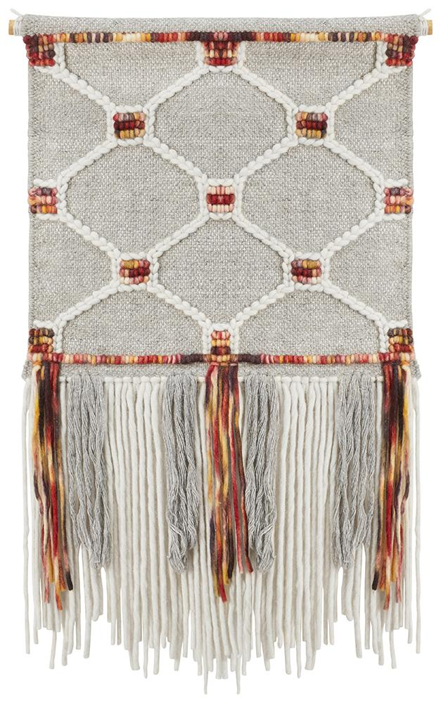 Aladdin Rugs NZ Home Malt Scandi Flatwoven Fringed Wall Hanging