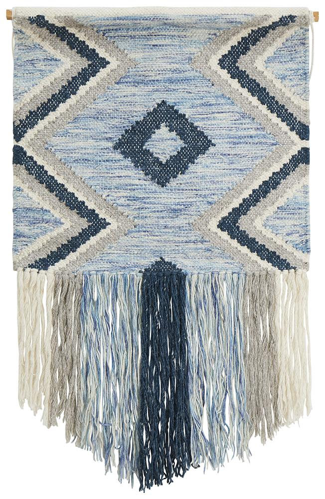 Aladdin Rugs NZ Home Blue Scandi Flatwoven Fringed Wall Hanging