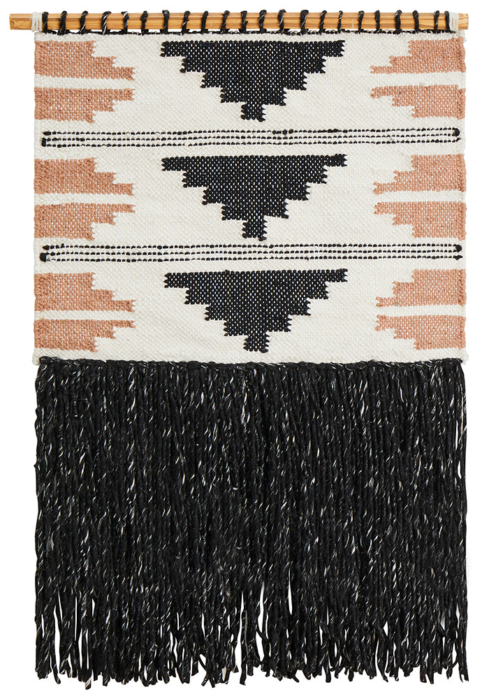 Aladdin Rugs NZ Home Black Scandi Textured Fringed Wall Hanging