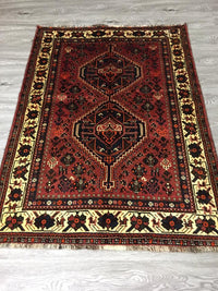 HAND KNOTTED PERSIAN SHIRAZ RUG 155 X 111 CM