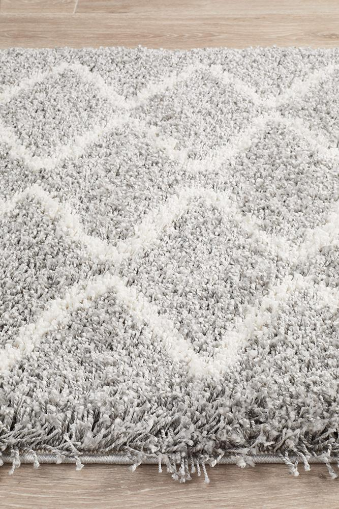 Bella Silver Fringed Runner Rug