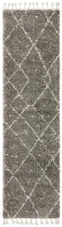 Laleh Grey Fringed Runner Rug