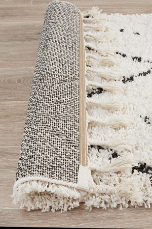 Laleh Black-Off White Fringed   Runner Rug