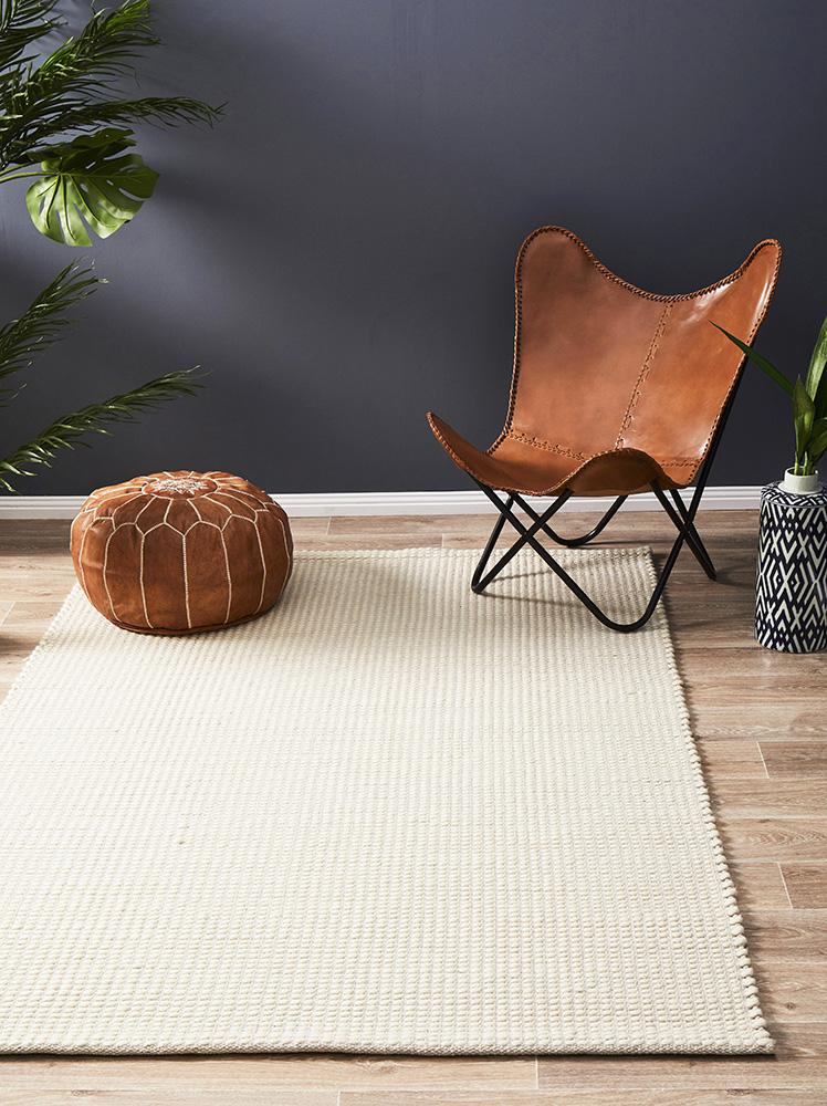 Hand Made  Felted Wool Rug White Natural