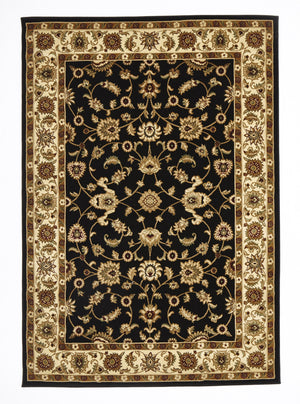 Sydney Classic Rug Black with Ivory Border - aladdinrugs - 1