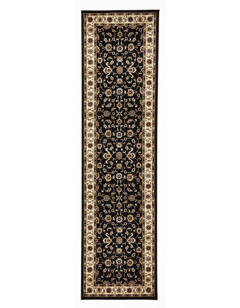 Sydney Classic Rug Runner Black with Ivory Border