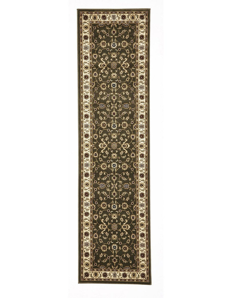 Sydney Classic Rug Runner Green with Ivory Border